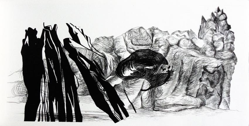 Fabien Tabur, Gravures de la série Election, pointe sèche et linogravure, 2015