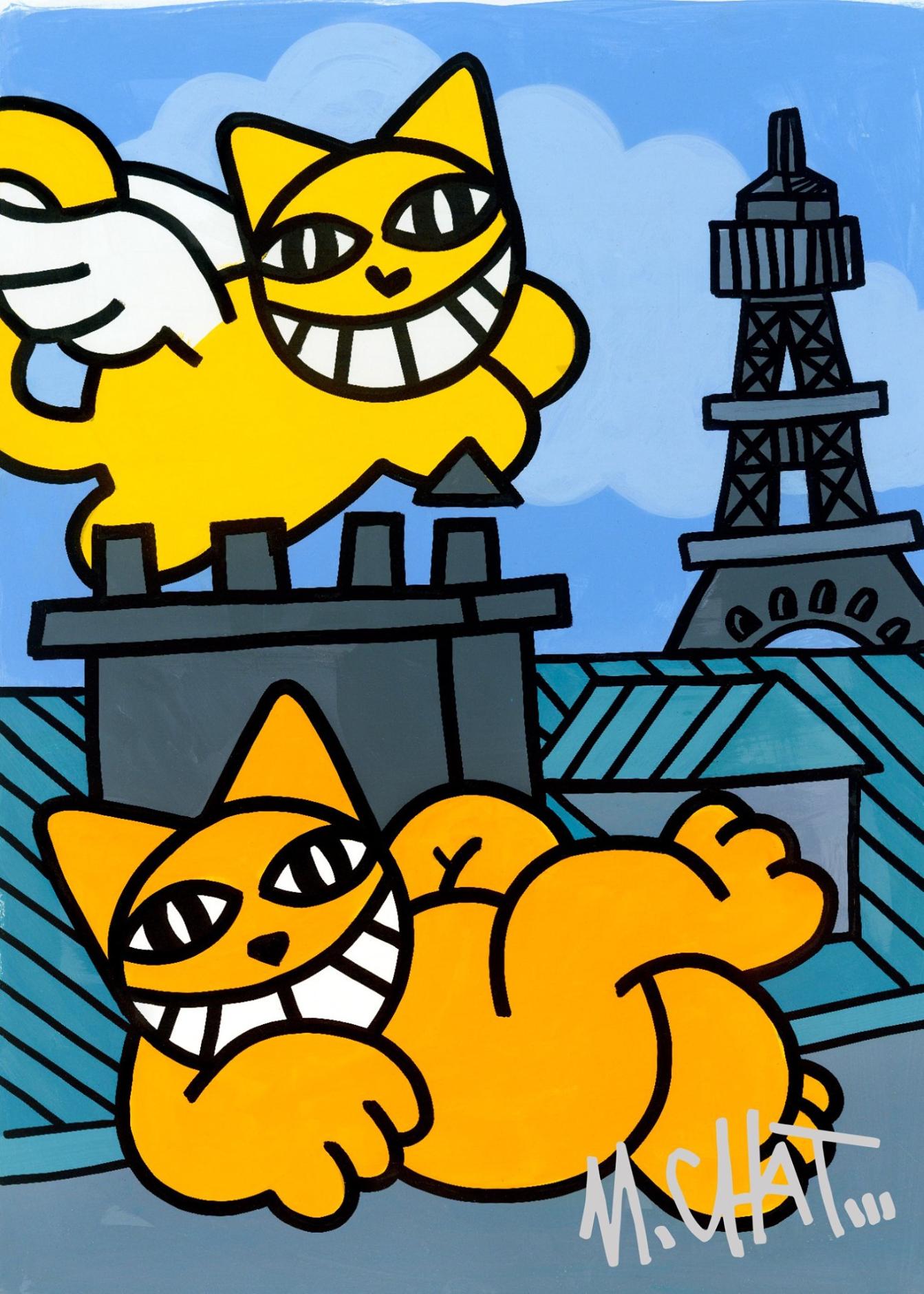 """M.Chat, """"Chats volants à Paris"""", sérigraphie numérotée et signée 70x50 cm."""