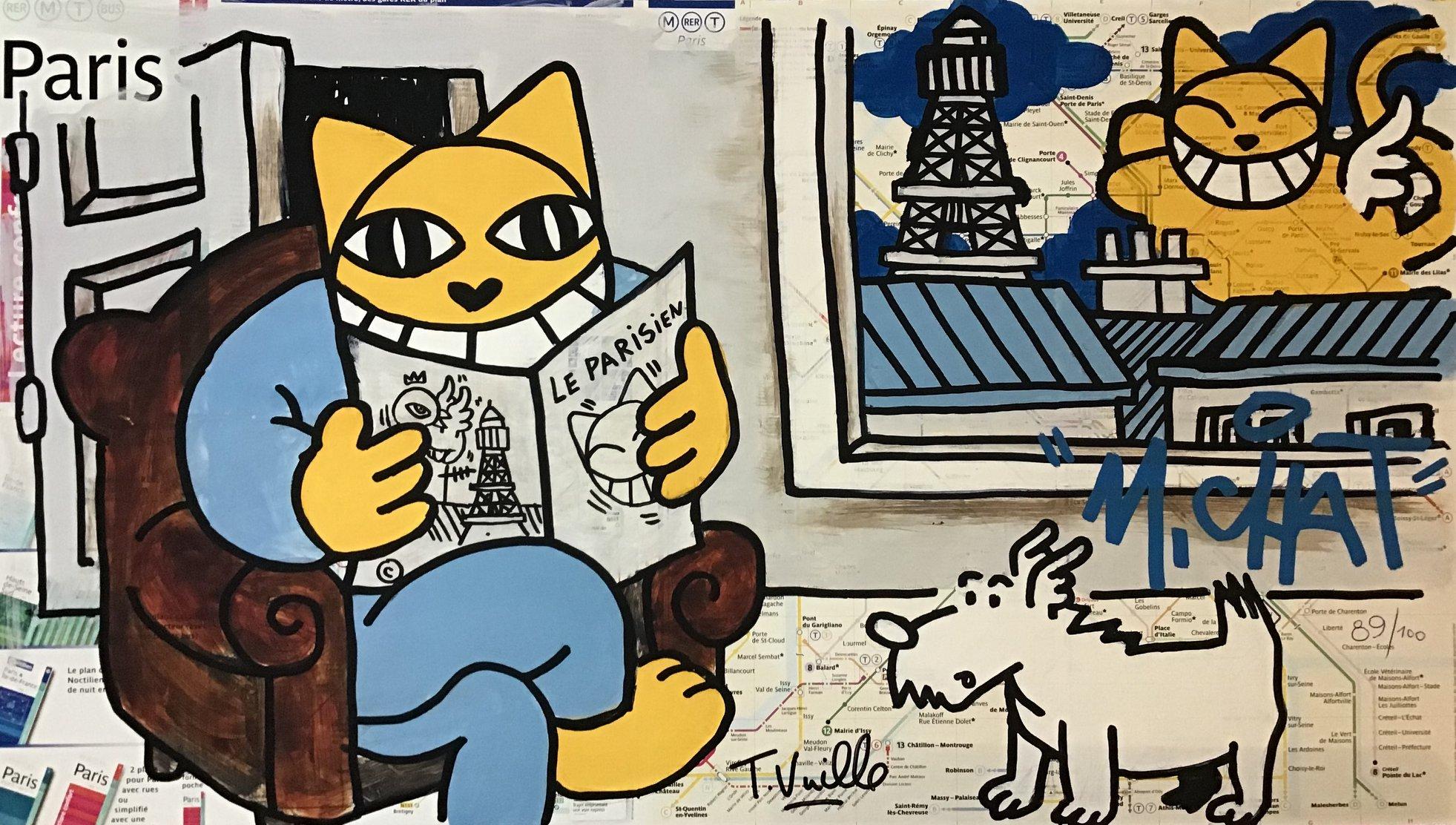 """M.Chat, """"Le parisien"""", sérigraphie numérotée et signée 70x40 cm."""